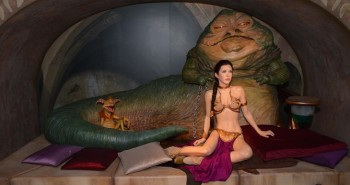 LONDON, ENGLAND - MAY 12:  Wax figures of Star Wars characters Princess Leia and Jabba The Hut on display at 'Star Wars At Madame Tussauds' on May 12, 2015 in London, England.  (Photo by Stuart C. Wilson/Getty Images)